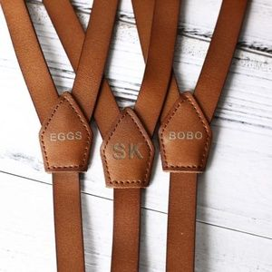 Personalized Rustic Brown Leather Suspenders
